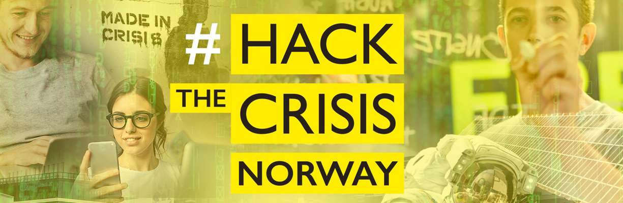 Logo og illustrasjon Hack the crisis.
